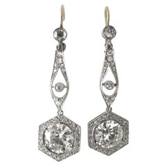 Antique Earrings Set with Old European Cut Diamonds