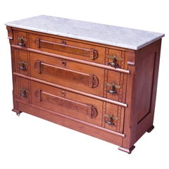 Antique 'Eastlake' Brooks Brothers Dresser in Walnut with Marble Top, U.S, 1890s