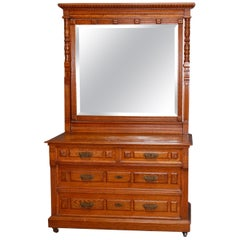 Eastlake Carved Oak and Bronze 4-Drawer Dresser with Beveled Mirror, circa 1890