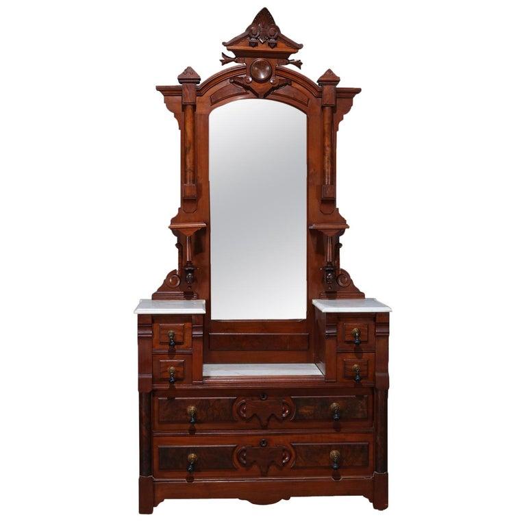 Antique Eastlake Carved Walnut And Burl Dresser Marble Top Mirrored Dresser