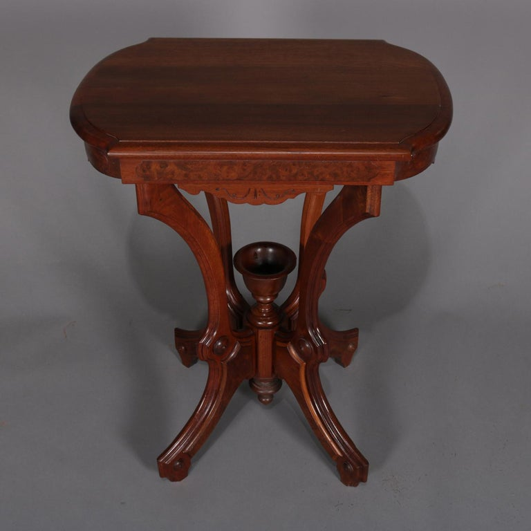 Antique Eastlake Carved Walnut And Burl Lamp Stand With