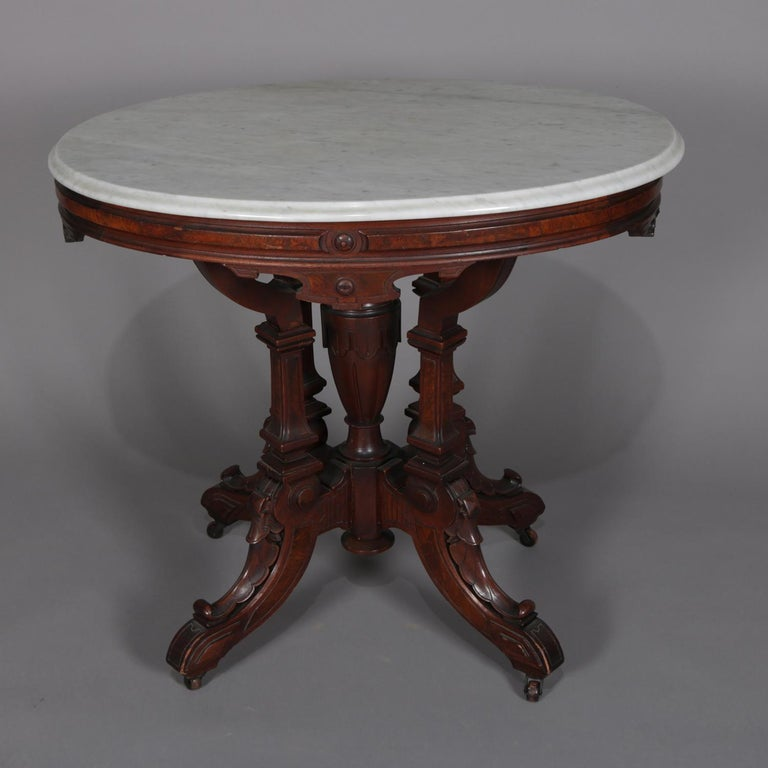 Antique Eastlake Carved Walnut And Burl Marble Top Oval