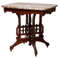 Antique Eastlake Carved Walnut Burl and Rouge Marble-Top Parlor Table circa 1890