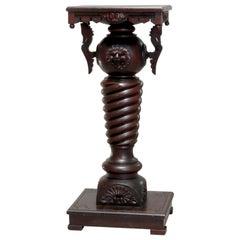 Antique Eastlake Mahogany R.J. Horner Figural Sculpture Pedestal, circa 1890
