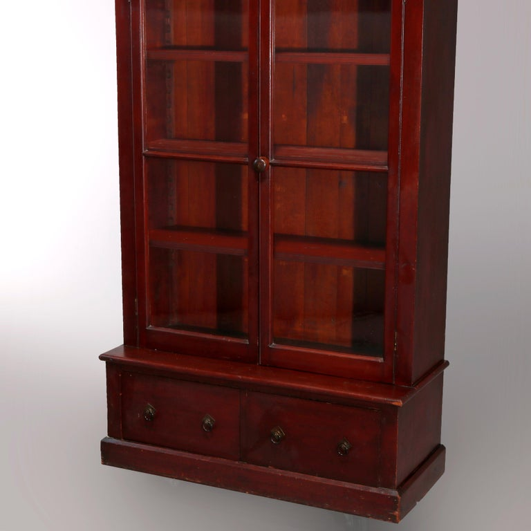 20th Century Antique Eastlake Mahogany Two-Door Bookcase, circa 1900 For Sale