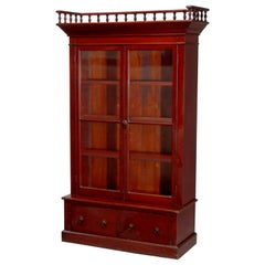 Antique Eastlake Mahogany Two-Door Bookcase, circa 1900