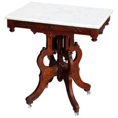 Antique Eastlake Marble-Top Carved Walnut and Burl Side Table, circa 1890