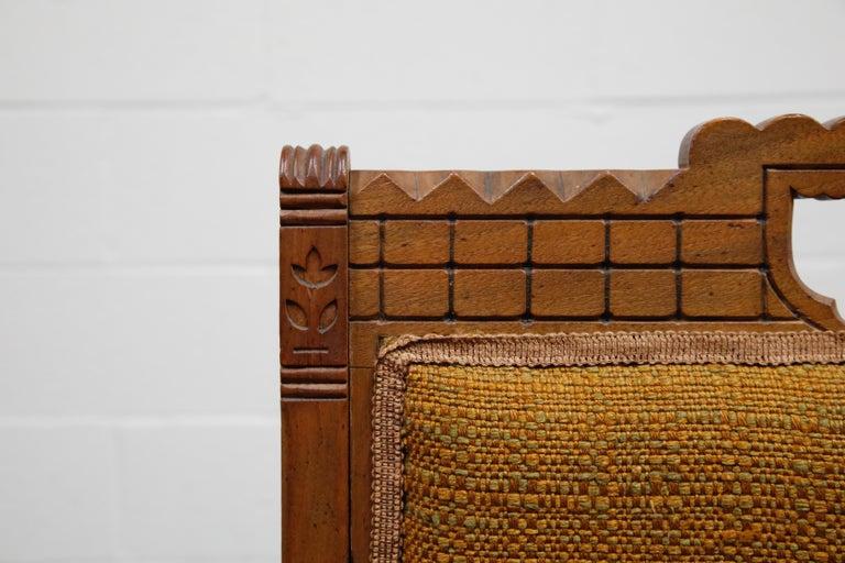 Antique Eastlake Oak Upholstered Armchair For Sale 4