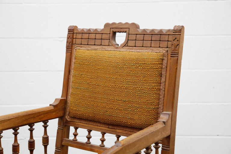 Antique Eastlake Oak Upholstered Armchair For Sale 5