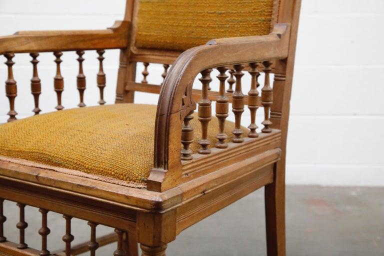 Antique Eastlake Oak Upholstered Armchair For Sale 6