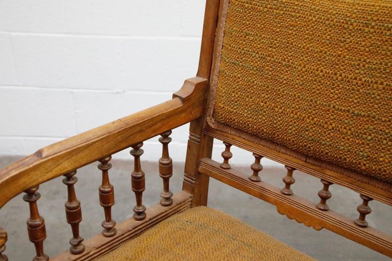 Antique Eastlake Oak Upholstered Armchair For Sale 7
