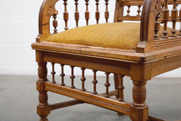 Antique Eastlake Oak Upholstered Armchair For Sale 8