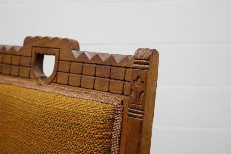 Antique Eastlake Oak Upholstered Armchair For Sale 9