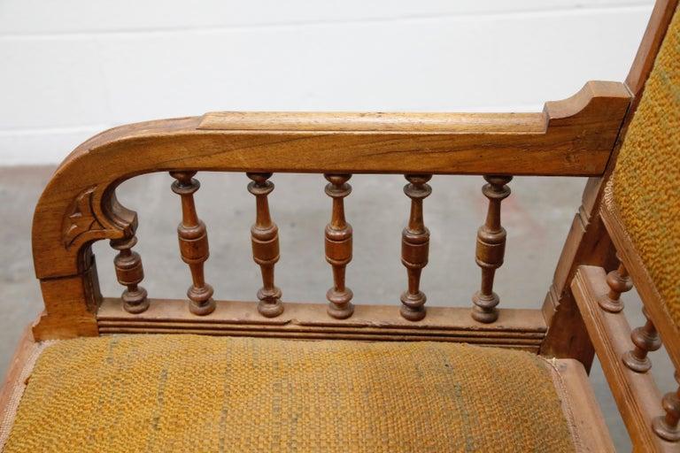 Antique Eastlake Oak Upholstered Armchair For Sale 10