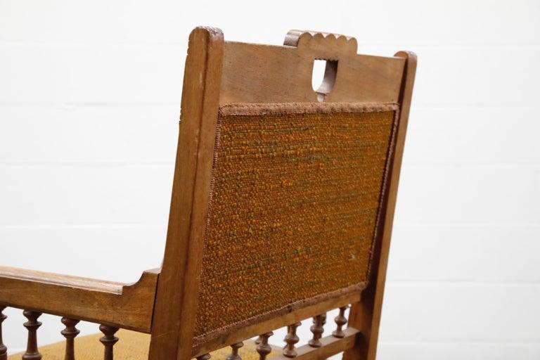 Antique Eastlake Oak Upholstered Armchair For Sale 11