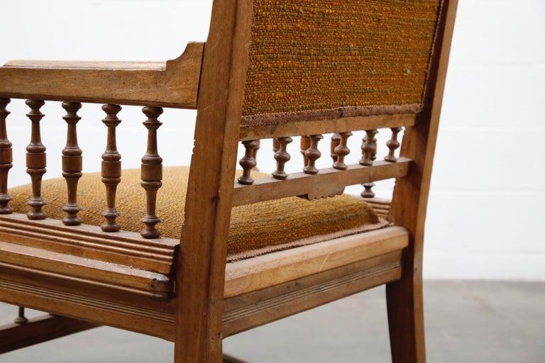 Antique Eastlake Oak Upholstered Armchair For Sale 12