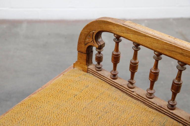 Antique Eastlake Oak Upholstered Armchair For Sale 13