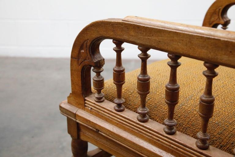 Antique Eastlake Oak Upholstered Armchair For Sale 14