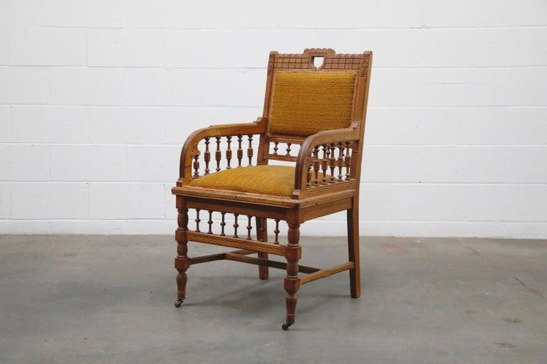 American Antique Eastlake Oak Upholstered Armchair For Sale