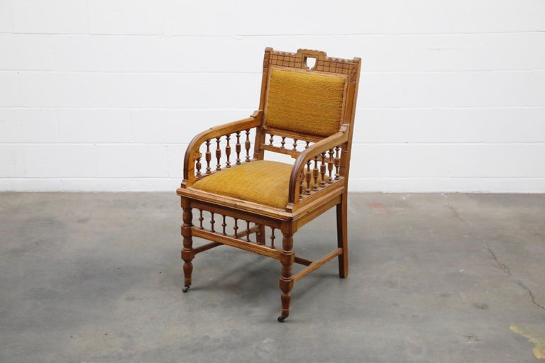 Antique Eastlake Oak Upholstered Armchair In Fair Condition For Sale In Los Angeles, CA
