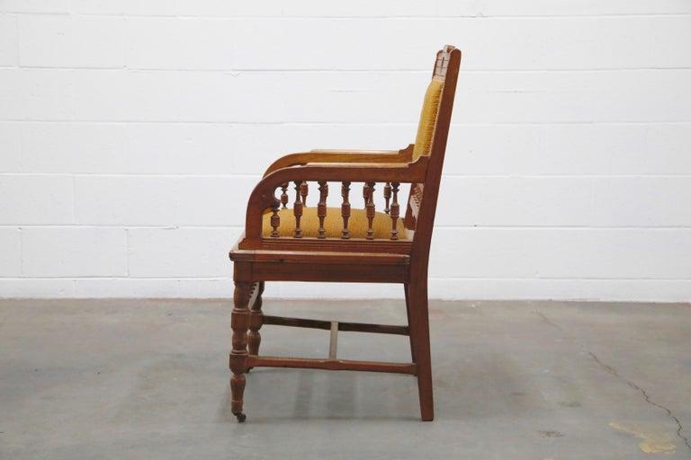 19th Century Antique Eastlake Oak Upholstered Armchair For Sale