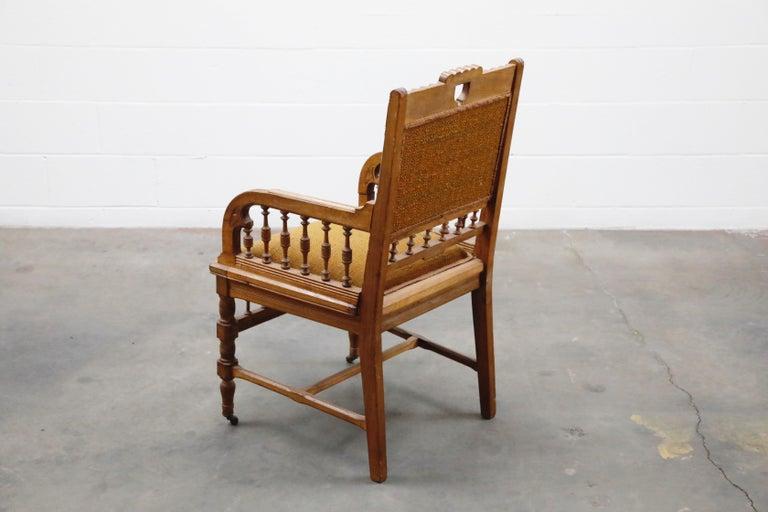 Fabric Antique Eastlake Oak Upholstered Armchair For Sale