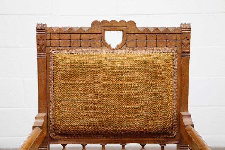 Antique Eastlake Oak Upholstered Armchair For Sale 1