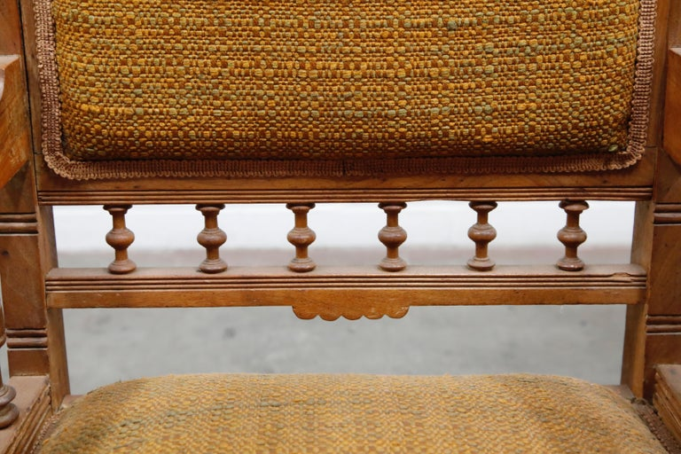 Antique Eastlake Oak Upholstered Armchair For Sale 2