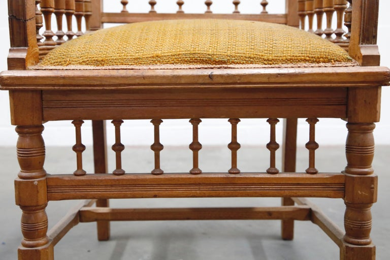 Antique Eastlake Oak Upholstered Armchair For Sale 3