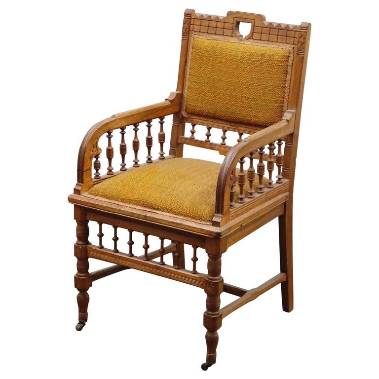 Antique Eastlake Oak Upholstered Armchair For Sale
