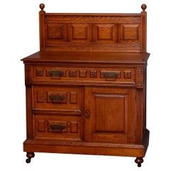 Antique Eastlake Paneled Carved Oak & Bronze Three-Drawer Washstand, circa 1880
