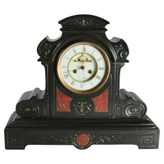 Antique Eastlake Rouge Marble Inlaid and Incised Slate Mantel Clock, circa 1890