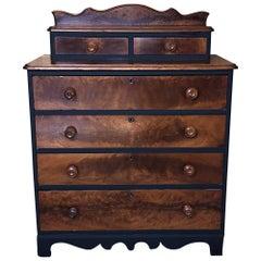 Antique Eastlake Solid Wood Dresser with Black Accents