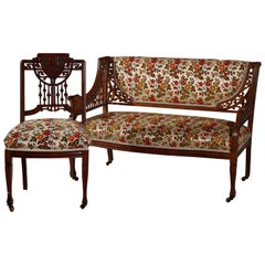 Antique Eastlake Stick & Ball Carved Mahogany Settee & Chair Parlor Set