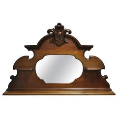 Antique Eastlake Victorian Carved Walnut Wall Hanging Mirror Wall Shelf Display