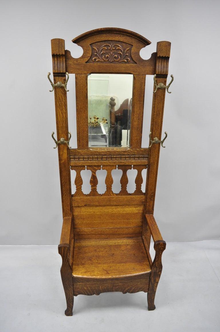 Incredible Antique Eastlake Victorian Golden Tiger Oak Hall Coat Tree Machost Co Dining Chair Design Ideas Machostcouk