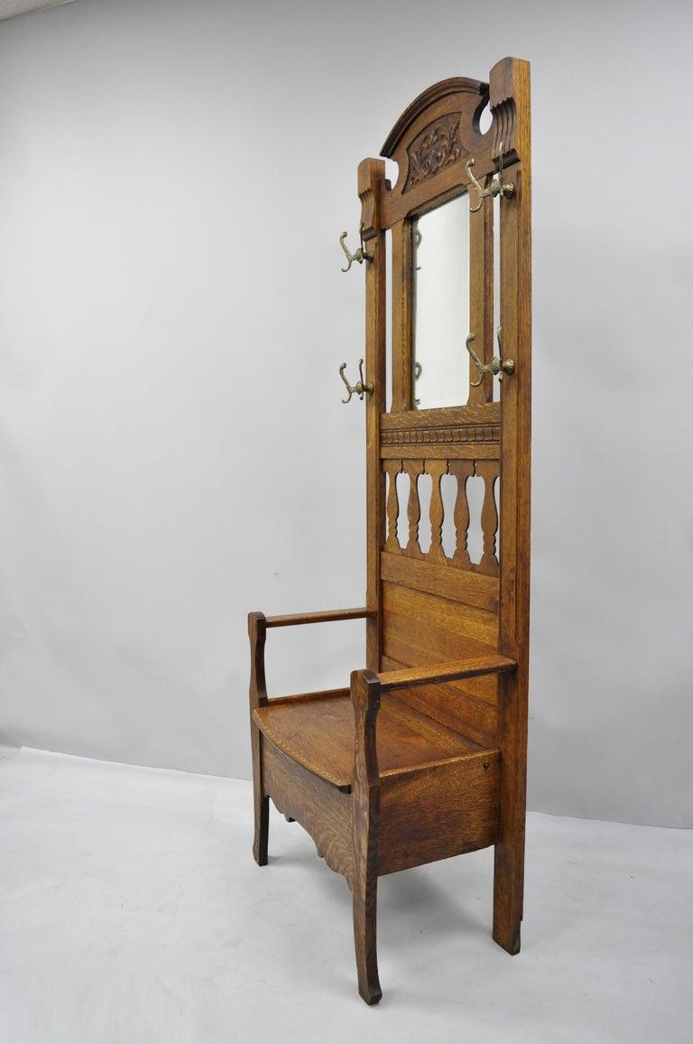 Terrific Antique Eastlake Victorian Golden Tiger Oak Hall Coat Tree Machost Co Dining Chair Design Ideas Machostcouk