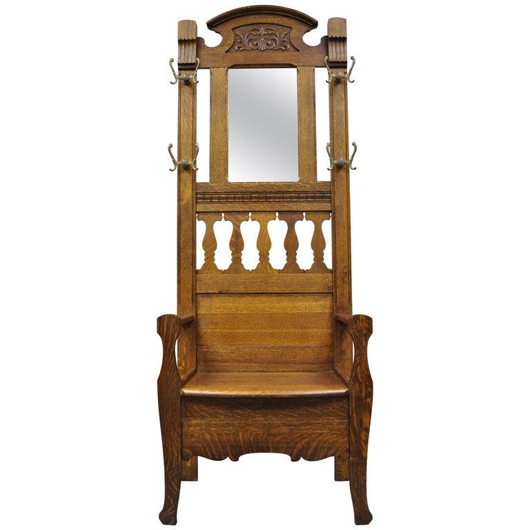 Enjoyable Antique Eastlake Victorian Golden Tiger Oak Hall Coat Tree Machost Co Dining Chair Design Ideas Machostcouk