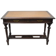 Antique Eastlake Victorian Two Drawer Carved Walnut Library Table Desk