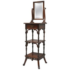 Antique Eastlake Victorian Walnut Shaving Stand Table Cheval Vanity Mirror