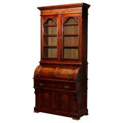 Antique Eastlake Walnut & Bur Barrel Roll Secretary Desk, Circa 1890