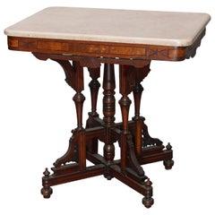 Antique Eastlake Walnut, Burl & Marble Parlor Table, Circa 1890