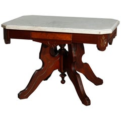 Antique Eastlake Walnut and Burl Marble-Top Low Table, circa 1890