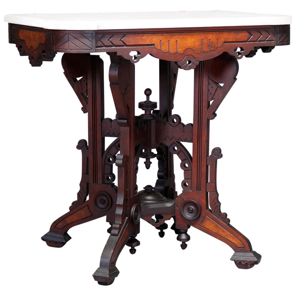 Antique Eastlake Walnut & Burl Marble Top Parlor Table, Circa 1880