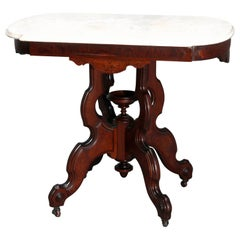 Antique Eastlake Walnut & Burl Marble Top Table, Circa 1890