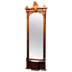 Antique Eastlake Walnut & Burl Pier Mirror with Marble Base, Circa 1880