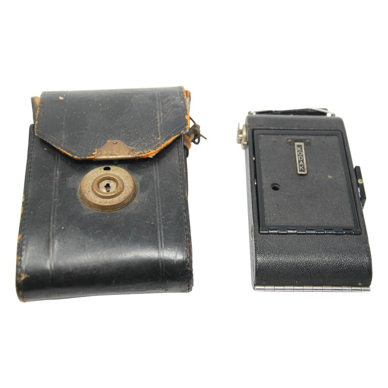 Antique Eastman Kodak 3A Folding Pocket Camera with Leather Case For Sale