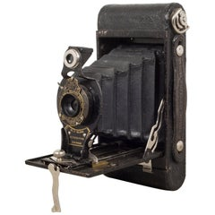 Antique Eastman Kodak No. 2 Folding Brownie Camera and Leather Case, circa 1919