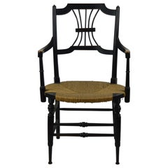 Antique Ebonised Rush Seated Chair Designed by Dante Gabriel Rossetti