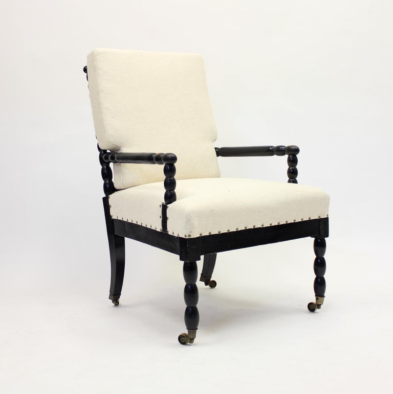 Arts and Crafts Antique Ebonized Bobbin Turned Chair, ca 1900